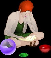 mujer leyendo figuras geometricas matematicas