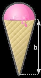 Cucurucho de helado, cono y semiesfera