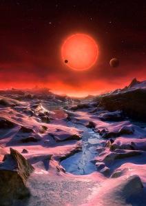 Ilustración de un planeta del sistema TRAPPIST-1